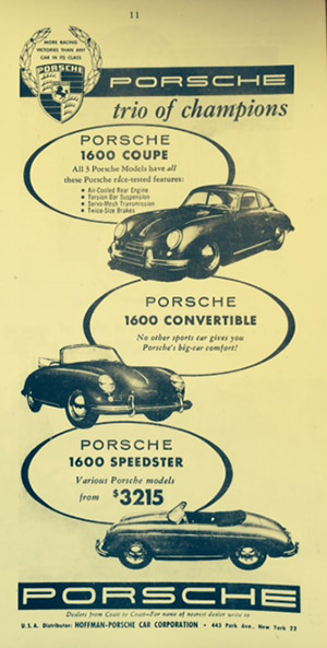 Classic ad for Porsche's Speedsters, various models of the 356