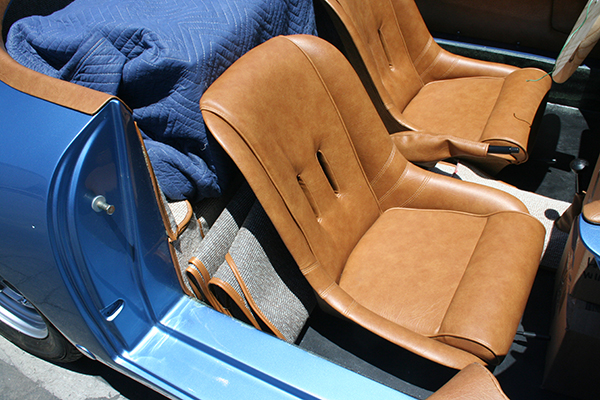 Speedster Kit - detail of tan upholstered seats